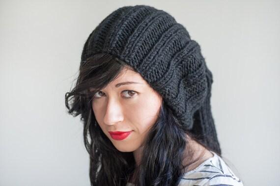 Black oversized beanie hand knit unisex hat black slouchy  24d205d03b9