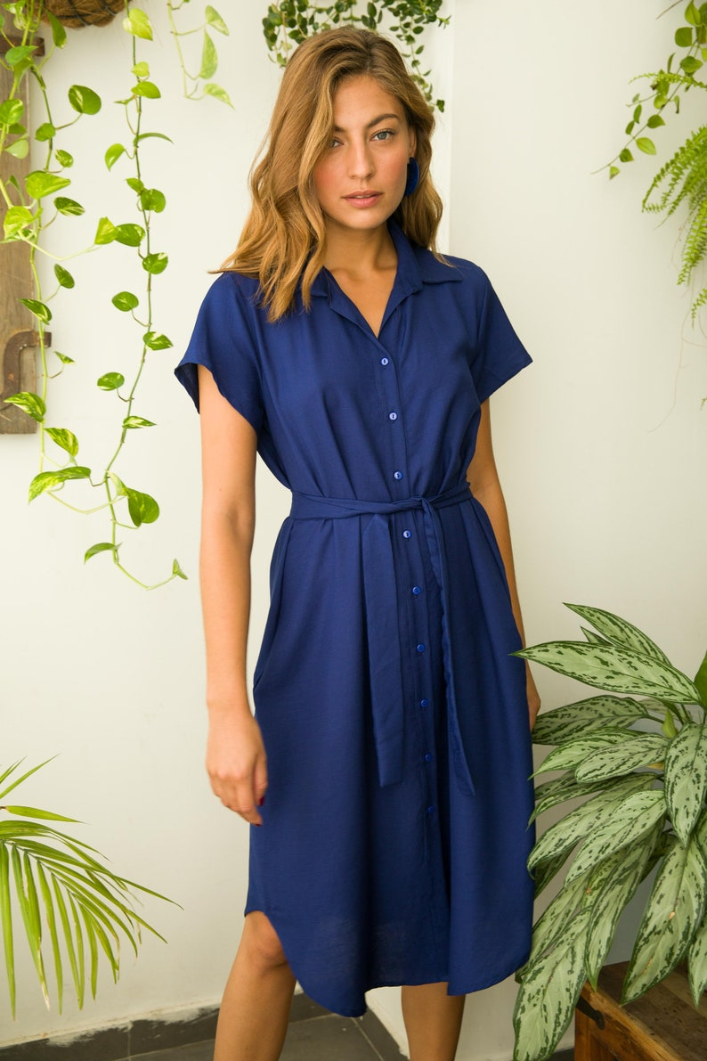 d2669e4c5b6 Royal Blue linen Shirtdress   Loose fit dress   Day dress
