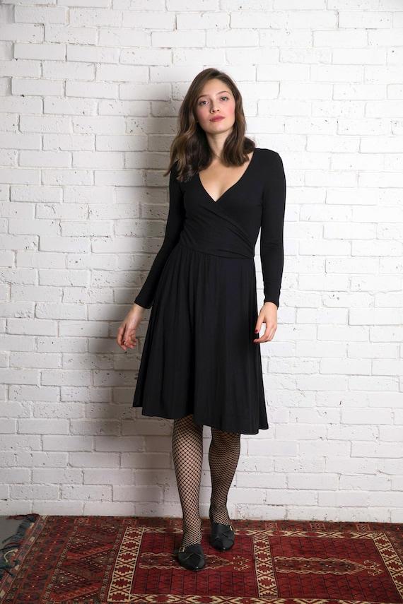 5b1adb4da290 Long Black dress women wrap dress skater dress winter