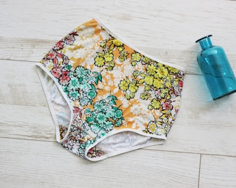 Yellow floral high waist panties / retro grandma style underwear / boho lingerie