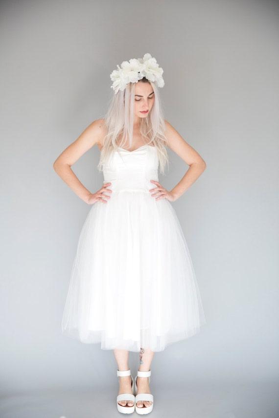 Short Tulle Wedding Dress Engagement Dress Tea Length Etsy