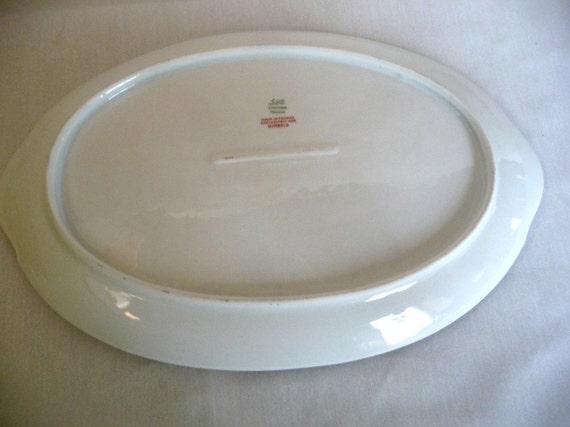 Vintage Limoges France Porcelain Oval Serving Platter Gold Floral Scroll for Gimbels Fine China