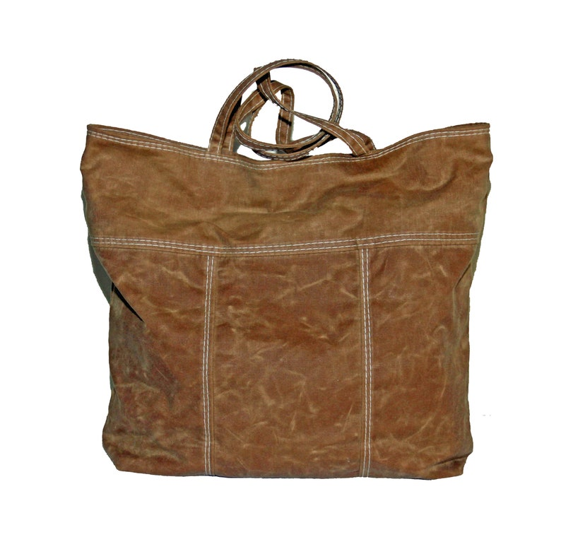Waxed Canvas Tote Purse Bag  Caramel Butterscotch Brown image 0