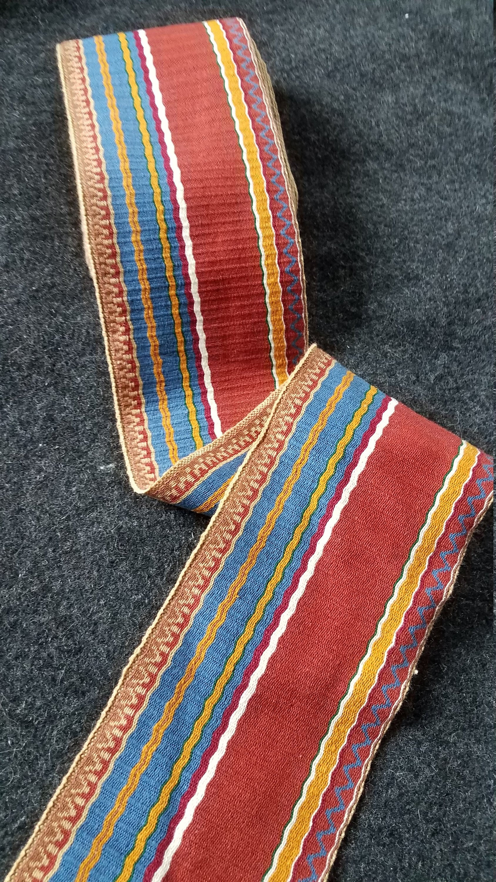 """White with Blue//Orange Embroidered 5//8/"""" Wide Trim by the Yd Vintage Trim"""