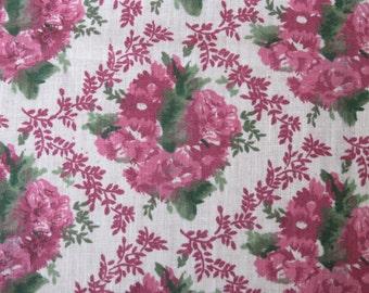Vintage Raspberry Pink Floral Wreath Fabric 4 yards