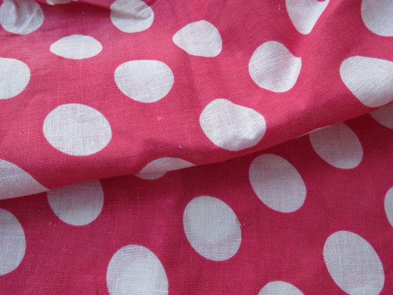 Vintage Pink White Polka Dot Circles Printed Fabric 2 Yards
