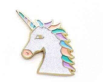 Lapel Pin - White Sparkle Unicorn
