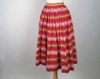 """Vintage 50s Red Striped Novelty Print Patio Skirt, Novelty Chicken Fabric, Woven Cotton Square Dance Skirt, W22"""", Womens Rockabilly Clothing"""