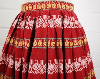 c83e7389b1 Vintage 50s Red Striped Novelty Print Patio Skirt, Novelty Chicken Fabric,  Woven Cotton Square Dance Skirt, W22