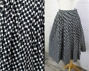 Vintage A-line Pleated Full Skirt 1950s Novelty Skirt Black and Pink Stripes Waist 25 in. Miss Sun Valley