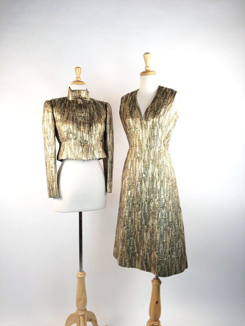b6fb2a4544bb Vintage 60s Pauline Trigere Metallic Gold Lame Cocktail Dress | Etsy