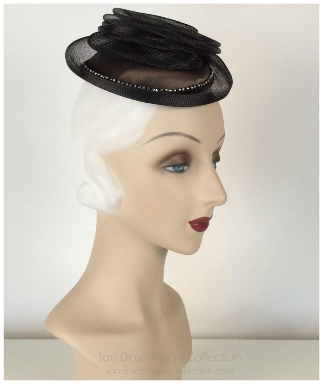 Vintage 80s Womens Black Rhinestone Fascinator Hat Cocktail  c998accba
