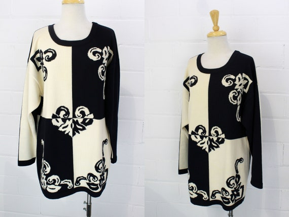 Vintage 1980s Escada Sweater, Black and White Knit