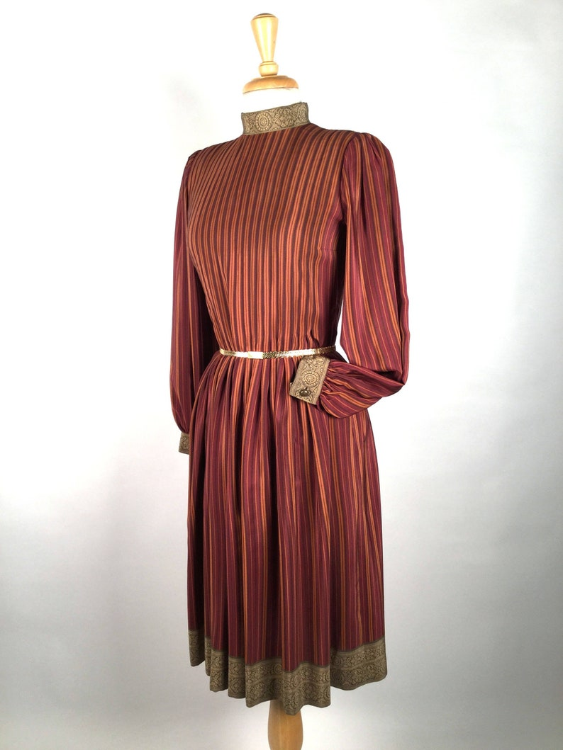 93a9d420b4fc Vintage 80's Pauline Trigere Striped Silk Day Dress High | Etsy