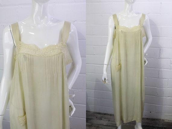 1930s Antique Silk Dressing Gown/Slip Dress, 30s L