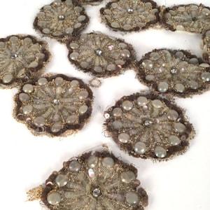 Antique Trim Beaded Net Lace Flapper Metallic Rhinestones 40 Stunning