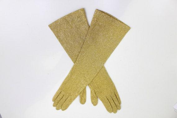Vintage 1950s/1960s Gold Glitter Evening Gloves, … - image 4