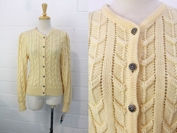 Vintage Austrian Cream Wool Cardigan, Cable Knit T