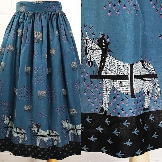 Vintage 50s Womens Teal Blue Novelty Print Skirt,