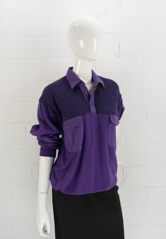 Vintage 80's NOS Purple Polo Sweatshirt,  J.J. Co… - image 2