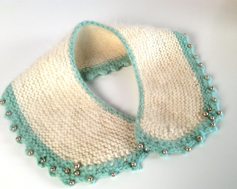 3b6bcda250340 Vintage 50s Womens Knitted Peter Pan Detachable Collar Mint   Etsy