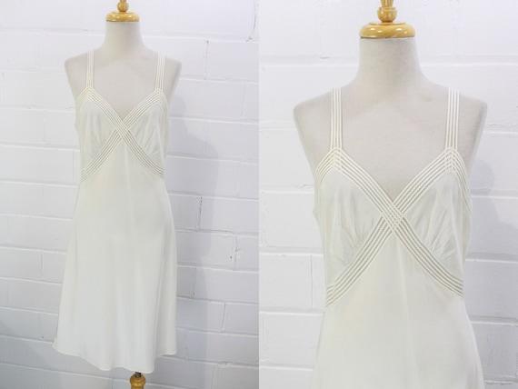 Vintage 1940s White Rayon Crepe Slip Dress by Rade
