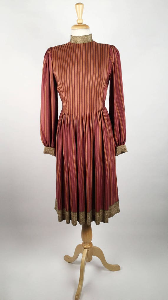 Vintage Pauline Trigere Striped Silk Day Dress, H… - image 2