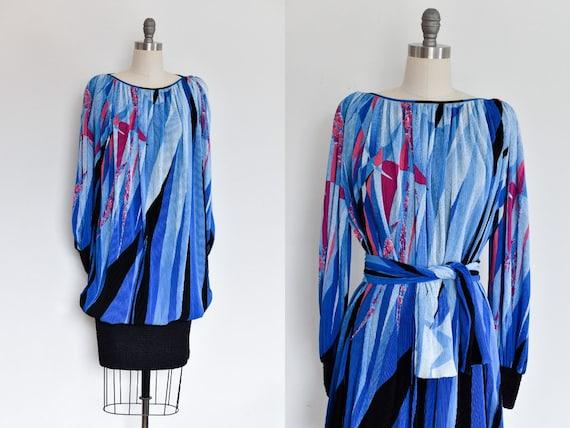 Vintage 1980s Mushroom Pleated Dress by Virginie P
