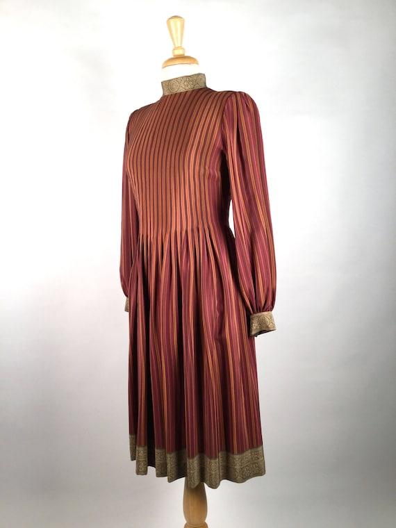 Vintage Pauline Trigere Striped Silk Day Dress, H… - image 7
