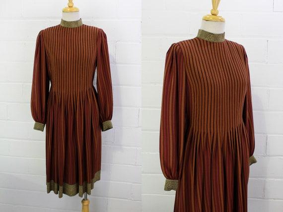 Vintage Pauline Trigere Striped Silk Day Dress, H… - image 1