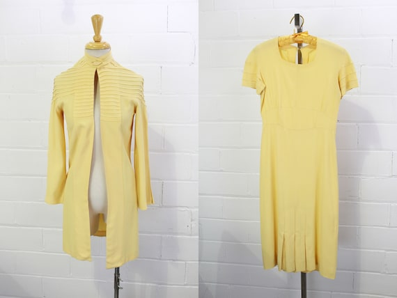30s Vtg Dress and Jacket Set, Pale Butter Yellow,