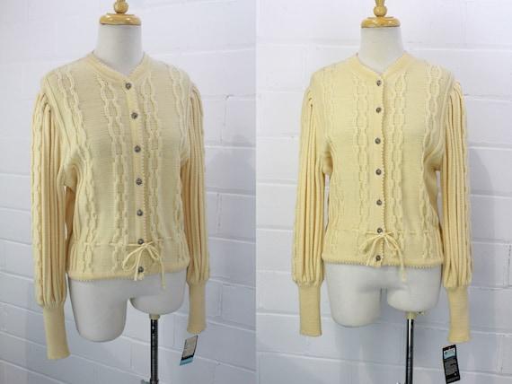 Vintage Austrian Wool Trachten Cardigan, Cream Cab