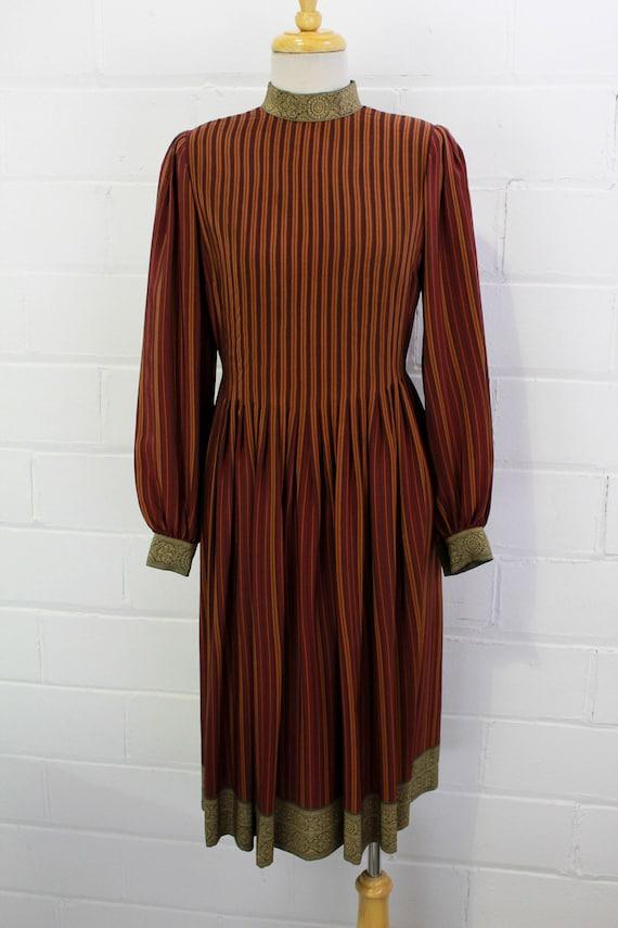 Vintage Pauline Trigere Striped Silk Day Dress, H… - image 3