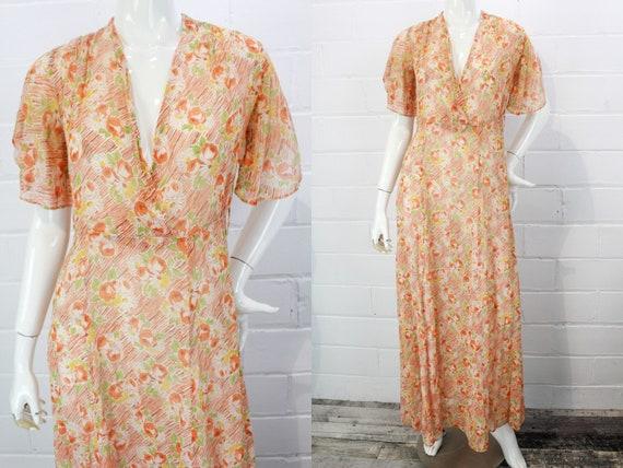 Vintage 1930s Orange Floral Cotton Voile Floral Pr