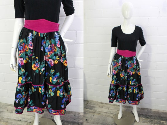 1980s Escada Floral Midi Skirt with Contrast Purpl