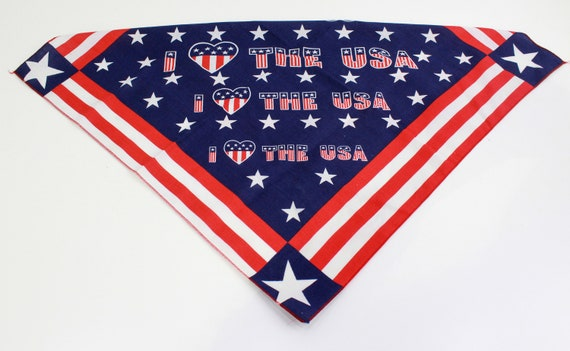 Vintage USA Bandana, I Love the USA Cotton Bandana