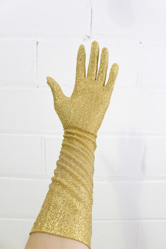 Vintage 1950s/1960s Gold Glitter Evening Gloves, … - image 3