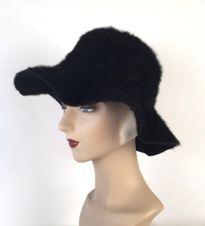 1e0c09a5ea4 Vintage 40s 50s Womens Wide Brim Hat Black Felt Hat Beaver