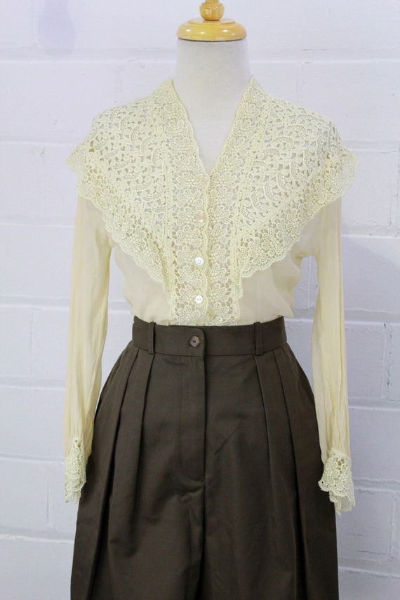 Vintage Lace Collared Blouse, Cream Sheer 1950s 60