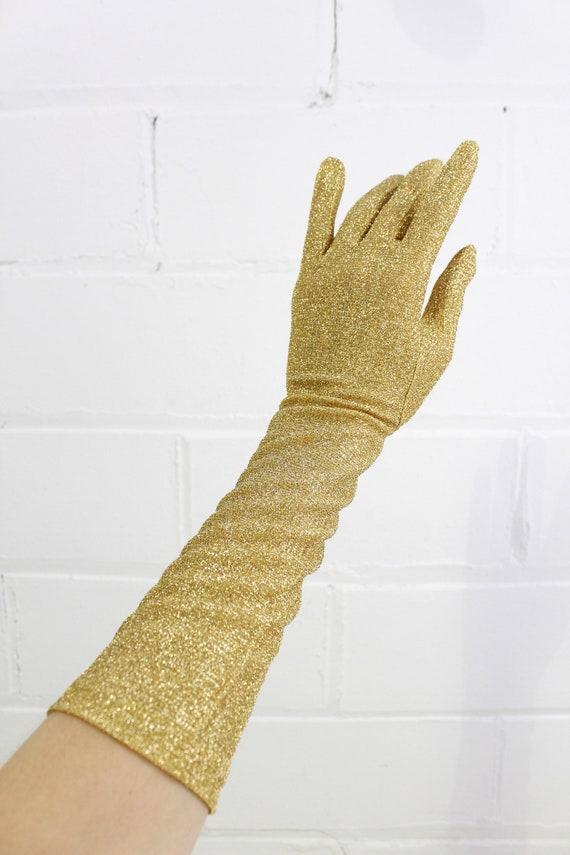 Vintage 1950s/1960s Gold Glitter Evening Gloves, L