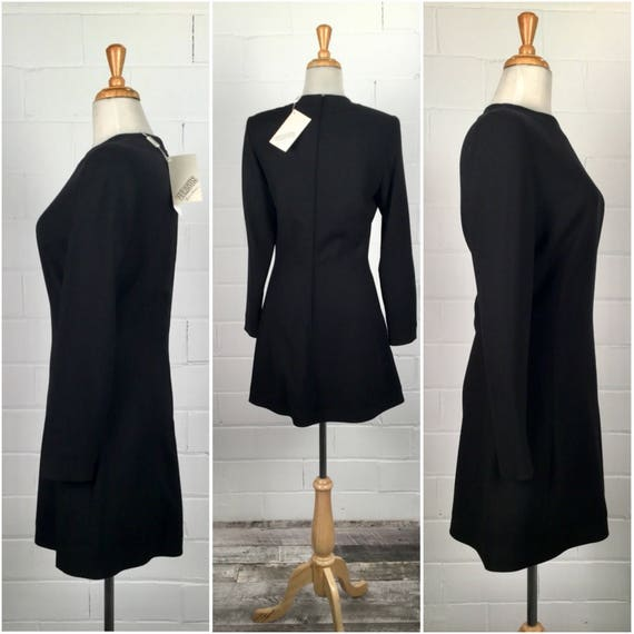 Vintage 90er Jahre Kleid, im Vergleich zu Versace, 90er Jahre Minikleid, 90er Jahre schwarzes Kleid, schwarzen Mini Kleid, schwarze Wolle Kleid, neu