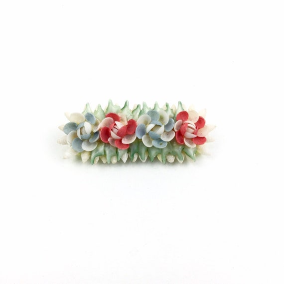 Vintage 40's Shell Brooch, Delicate Pale Blue Red