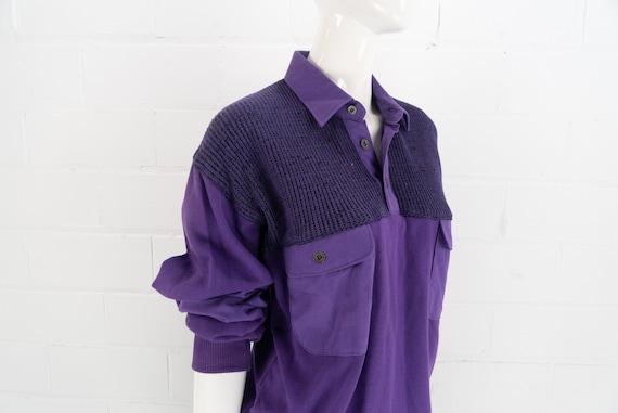 Vintage 80's NOS Purple Polo Sweatshirt,  J.J. Co… - image 1
