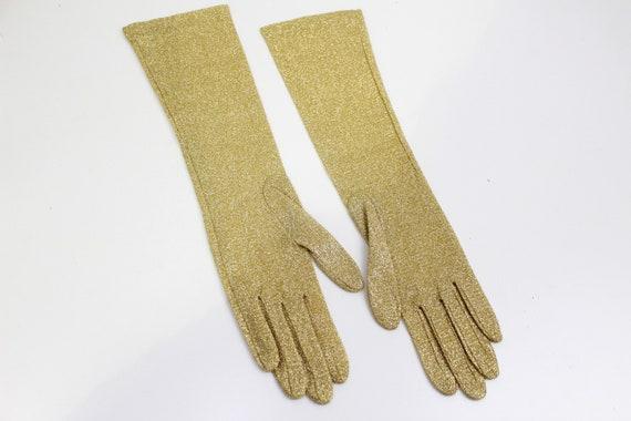 Vintage 1950s/1960s Gold Glitter Evening Gloves, … - image 8