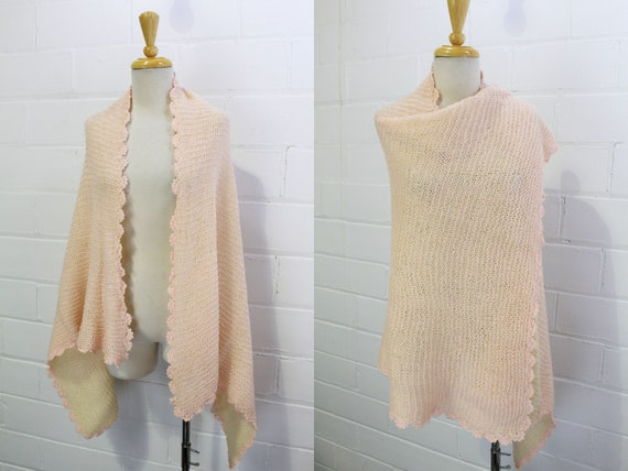 Vintage 20s Pink Wool Baby Blanket, Scarf/Cape, Wo