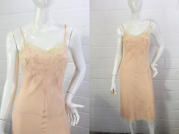 1930s/40s Pink Silk Slip Dress, Vintage 30s Linger