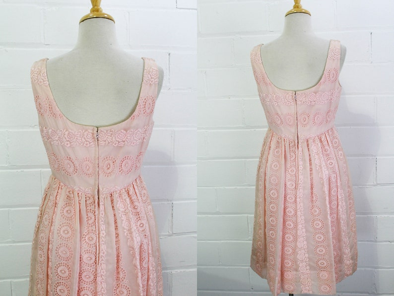 1960s Pink Chiffon Empire Waist Party Dress Sleeveless Scoop Neck Bodice W 26 B 34 Vintage 60s Embroidered Floral Sheer Chiffon