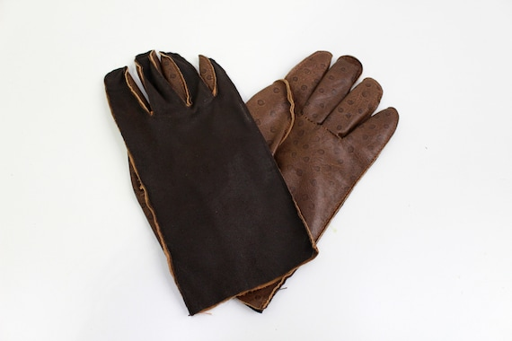 Vintage Brown Leather Gloves, Men's Leather Gloves