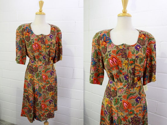 Vintage 1980s Floral Silk Blouse and Skirt Set, NO