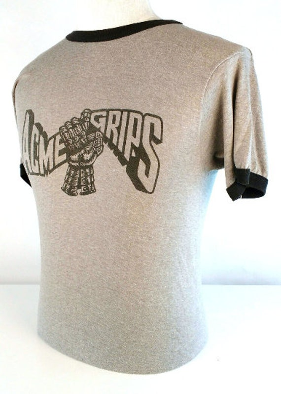 Vintage 80s Mens Ringer T Shirt, Vintage Graphic T